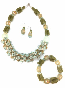 Hand-Painted Multi-Bead Necklace Set $40