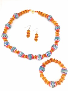 Hand-Painted Powder Glass Beaded Necklace Set $30