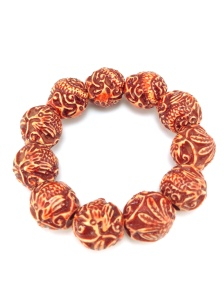 Carved Bead Stretch Bracelet