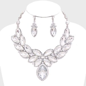 Laurel Wreath Marquise Evening Necklace Set $36