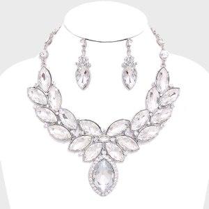 Laurel Wreath Marquise Evening Necklace Set $36