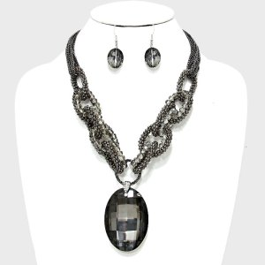 Stone Drama Necklace Set $23
