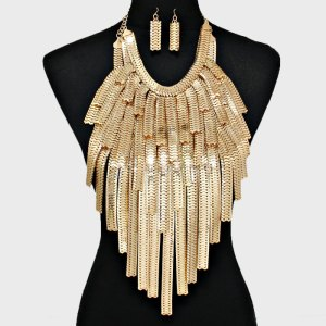 Snake Chain Statement Bib Necklace Set $40
