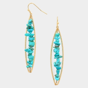 Turquoise Stone Long Hoop Earrings