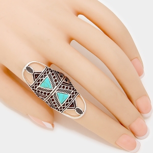 Double Stone Aztec Ring