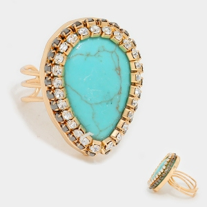 Crystal Trim Turquoise Stone Teardrop Ring