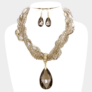 Chunky Crystal Pendant & Multi-Strand Bead Necklace Set