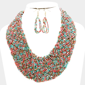 Braided Wide Boho Bead Strand Necklace Set