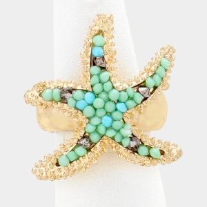 Beaded Starfish Stretch Ring