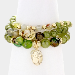 Tree Of Life Charm Beaded Stack Stretch Bracelets
