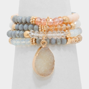 Druzy Charm Multi-Bead Stack Stretch Bracelet
